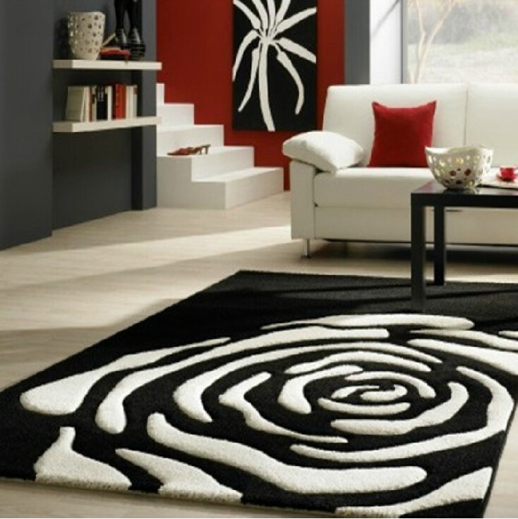 Continental Clical Black And White Carpet Manual Acrylic Living Room Bedroom Flower Shaped Tapis Salon Rug