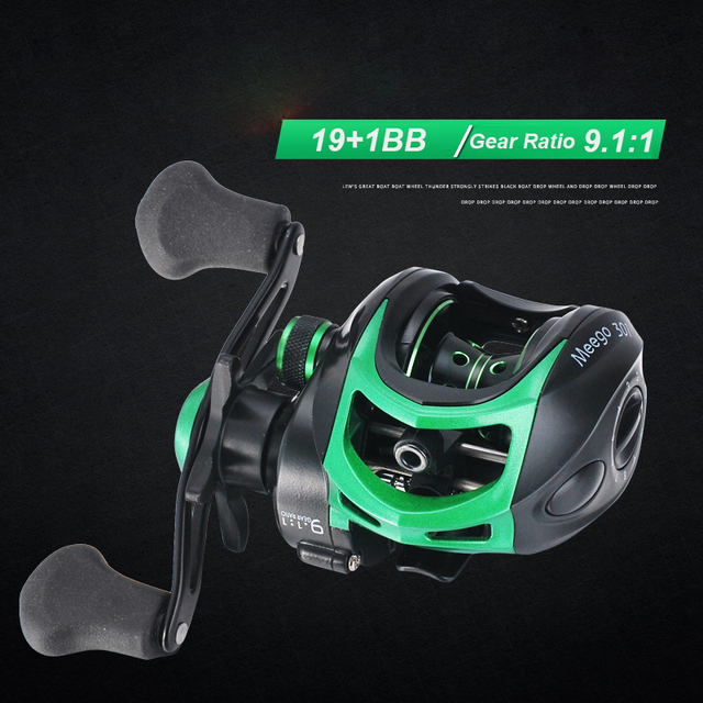 Baitcasting Reels Ultra Lightweight Fishing Reels with 19+1 Corrosion Resistant Bearings 17.6 lb Drag Power 9.1:1 Gear Ratio