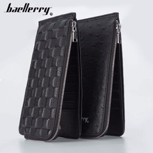 Baellerry Men Leather Card Wallet Genuine 20 Holder Large Capacity Smart Plaid Phone Pocket Wallets