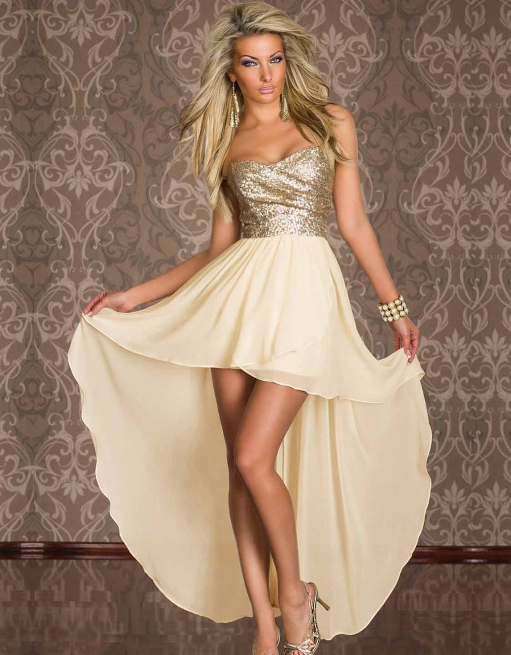 Aliexpress.com : Buy Sequin Strapless Cocktail Beige Dress from ...