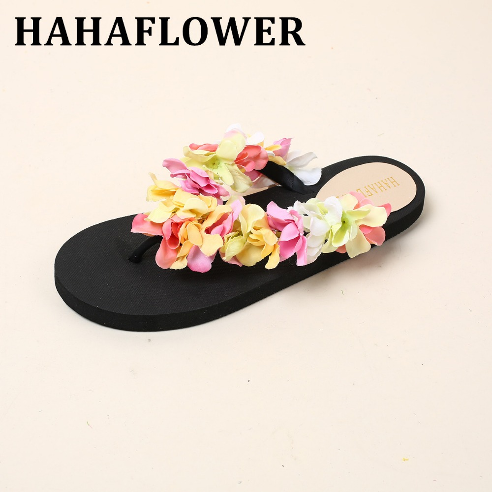 HAHAFLOWER seaside holiday cherry blossoms beach slippers Female flowers in the summer of flat non-slip flip-flops A19 cherry beach парео