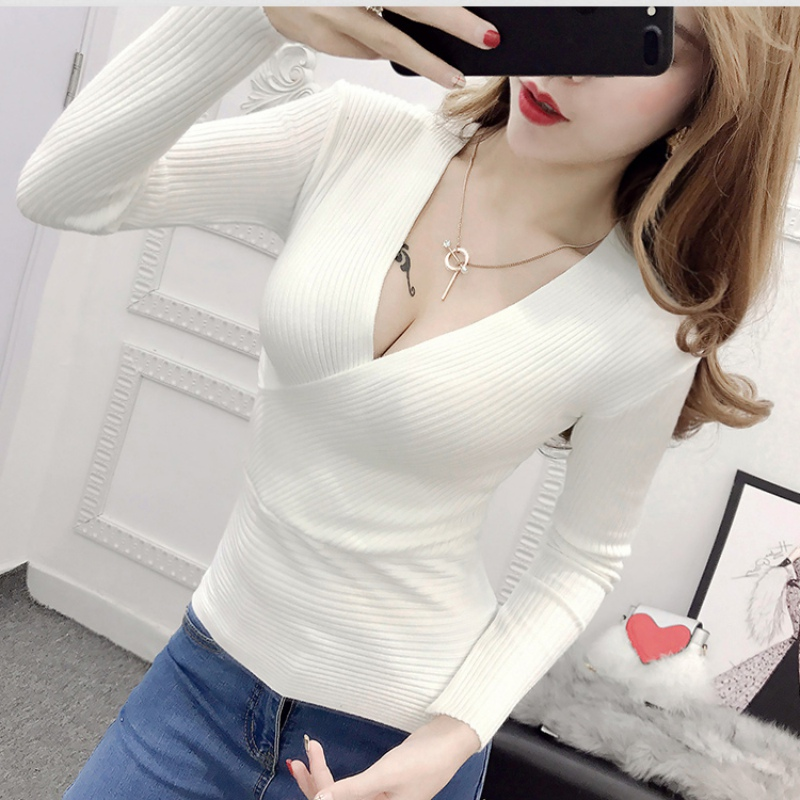 Female 2018 Winter Long Sleeve Slim Knitted Sweater Women Sexy V-Neck Sweaters Fashion Pullover