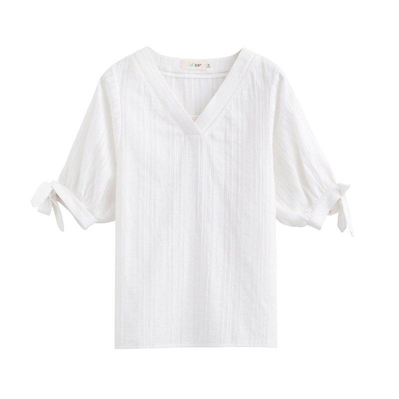 Blouses Vêtements Inman Système Lâche Femmes Cou pink Type Arc Noeud V Matériel D'été White 2019 Blue Dépouillé Programation Coton De YnYq6r5f