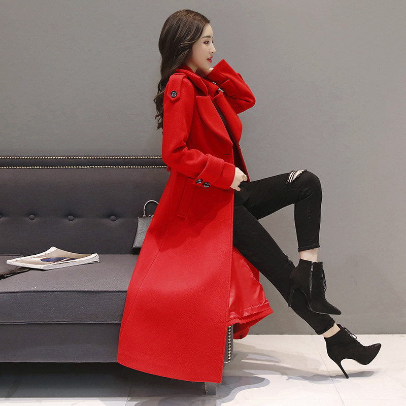 Rosso Lungo Cappotto di Lana Delle Donne Monopetto Addensare Cappotto di Inverno Delle Donne di Modo Elegante Delle Signore Parka Abrigo Mujer Cappotto Di Lana c4707 - 4