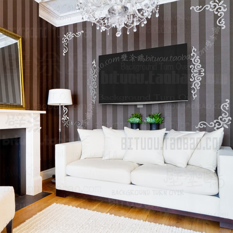 aliexpresscom buy free shipping tv wall diagonal europe vintage baroque rococo vinyl decoration mirror art wall paper home decor sticker s190 from