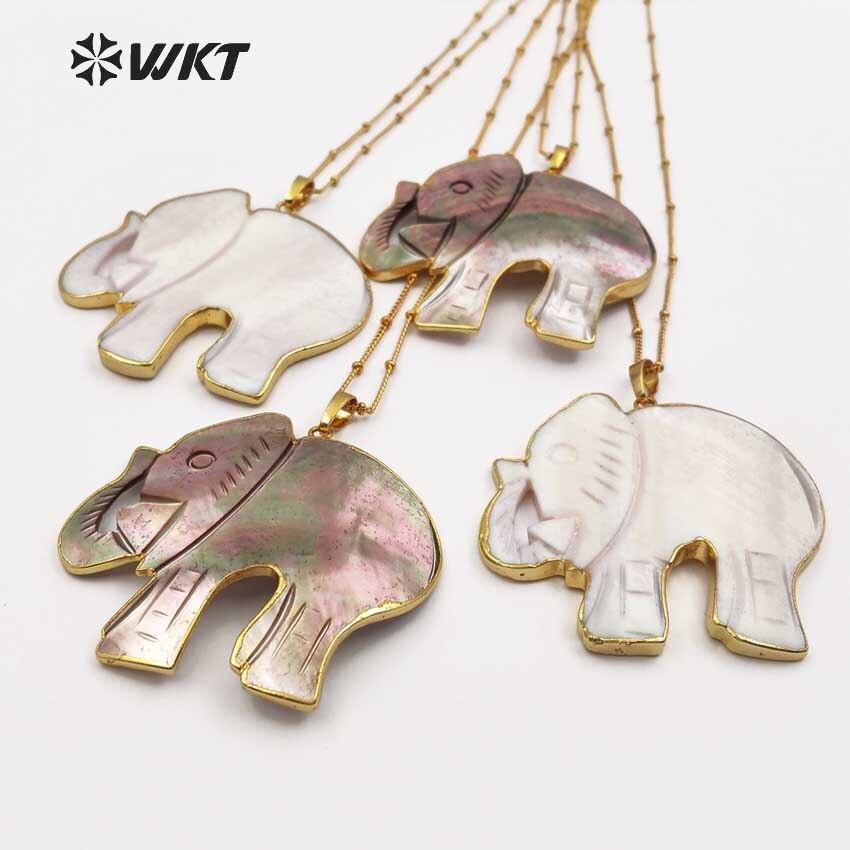 WT JN029 WKT großhandel natürliche shell halsketten, mode baby elefanten form anhänger mit gold farbe ketten frauen schmuck geschenk-in Anhänger-Halsketten aus Schmuck und Accessoires bei  Gruppe 1