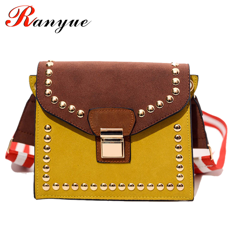 2017 New Fashion Flap Women Bags High Quality Rivet Women Shoulder Bags Famous Brands Designers Crossbody