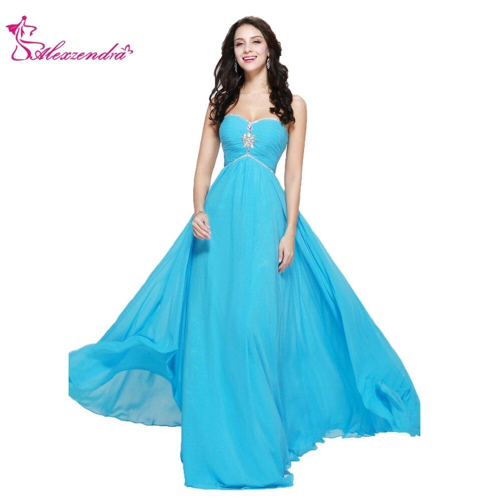 Alexzendra Simple Chiffon Blue Bridesmaid Dress for Wedding ...