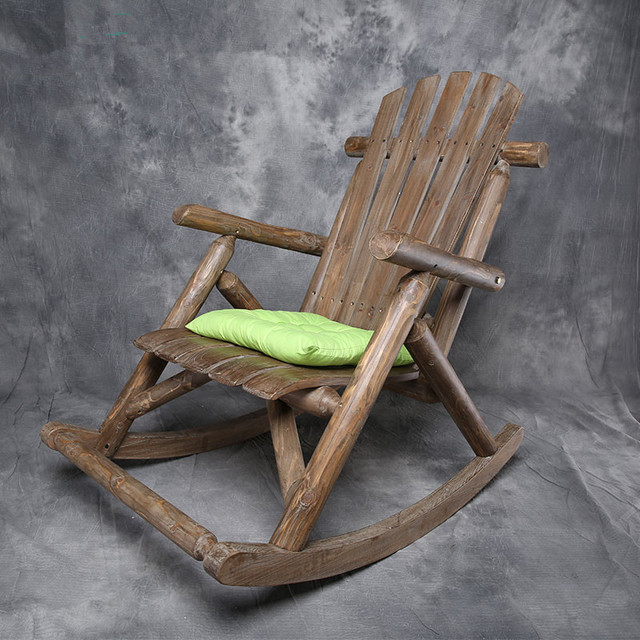 Modern Solid Wood Rocking Chair Antique Natural Outdoor Furniture Garden Wooden Patio Vintage
