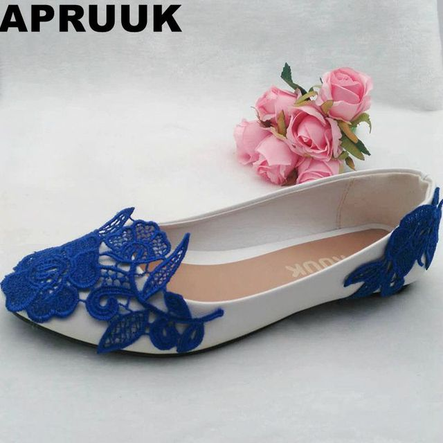 Wedding Shoes Flat Heel Blue Lace Bridal Party Shoes Sexy Ladies Spring  Summer Flat Heel Blue