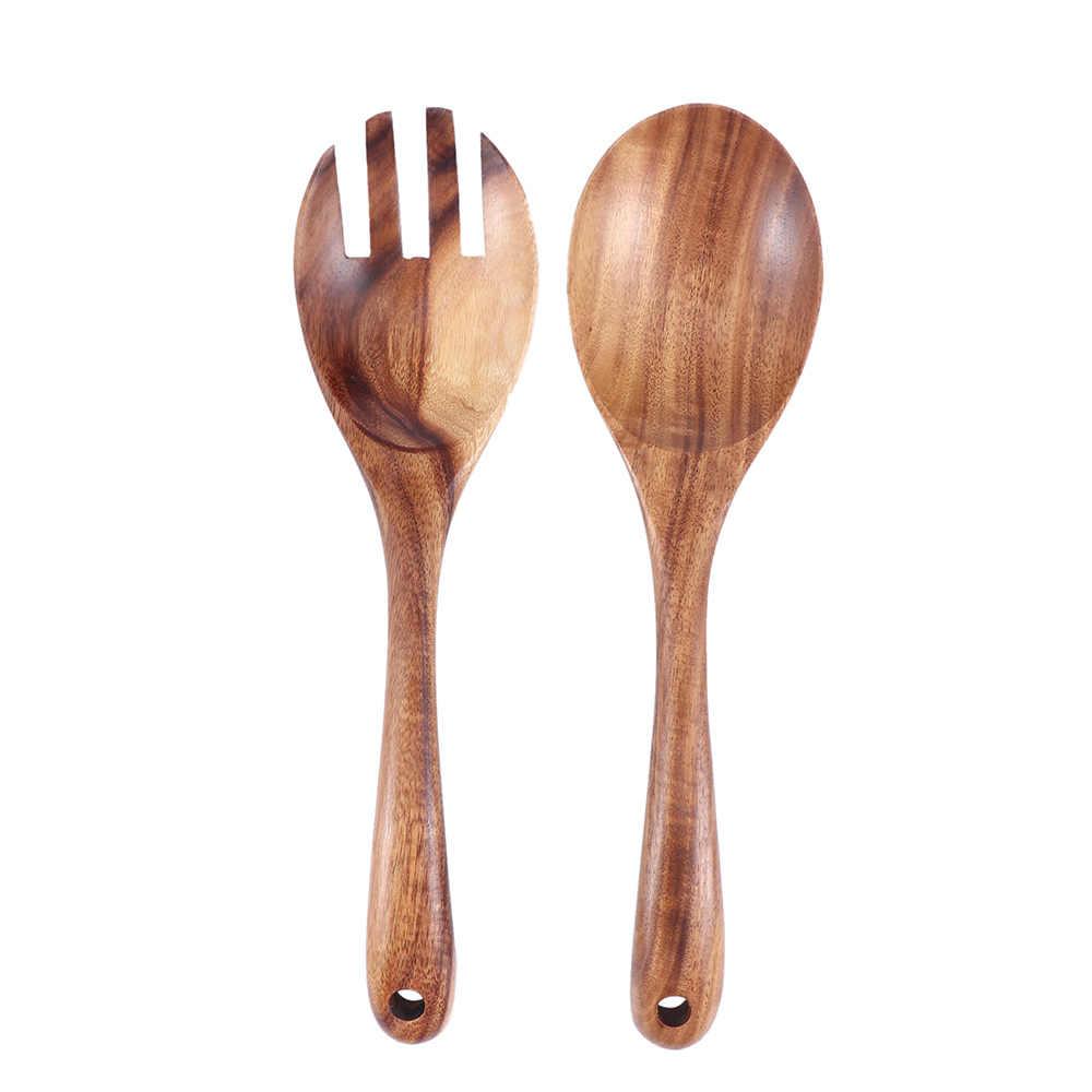 Natural Wooden Kitchen Cooking Spoons Large Salad Server Wood Fork Spoon Cutlery Set Wooden Utensils Tableware