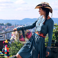 MX114 Новое Прибытие Осень 2016 женщин богемный старинные хиппи стиль вышитые бисером кисточкой замши платье с длинным рукавом
