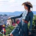 MX114 Nova Chegada do Outono 2016 mulheres estilo bohemian hippie do vintage frisado bordado de camurça borla vestido de manga comprida