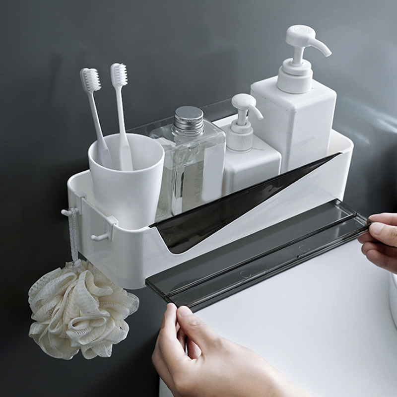 Permalink to Bathroom Shelf Punch-Free Plastic Toilet Bathroom Vanity Wall Hanging Bathroom Storage Rack Basket No Trace Stickers