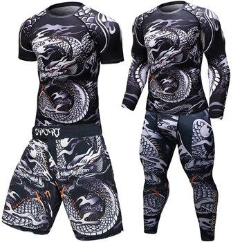 Brand New MMA WorkOut compress men t-shirt long sleeves BJJ 3D fitness Tights men Rashguard Tshirt + trousers men's clothing