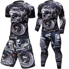 Brand New MMA WorkOut compress koszulka męska z długim rękawem BJJ 3D leginsy sportowe męskie Rashguard Tshirt + spodnie odzież męska