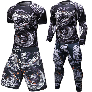 Image 1 - Brand New MMA WorkOut compress men t shirt long sleeves BJJ 3D fitness Tights men Rashguard Tshirt + trousers mens clothing