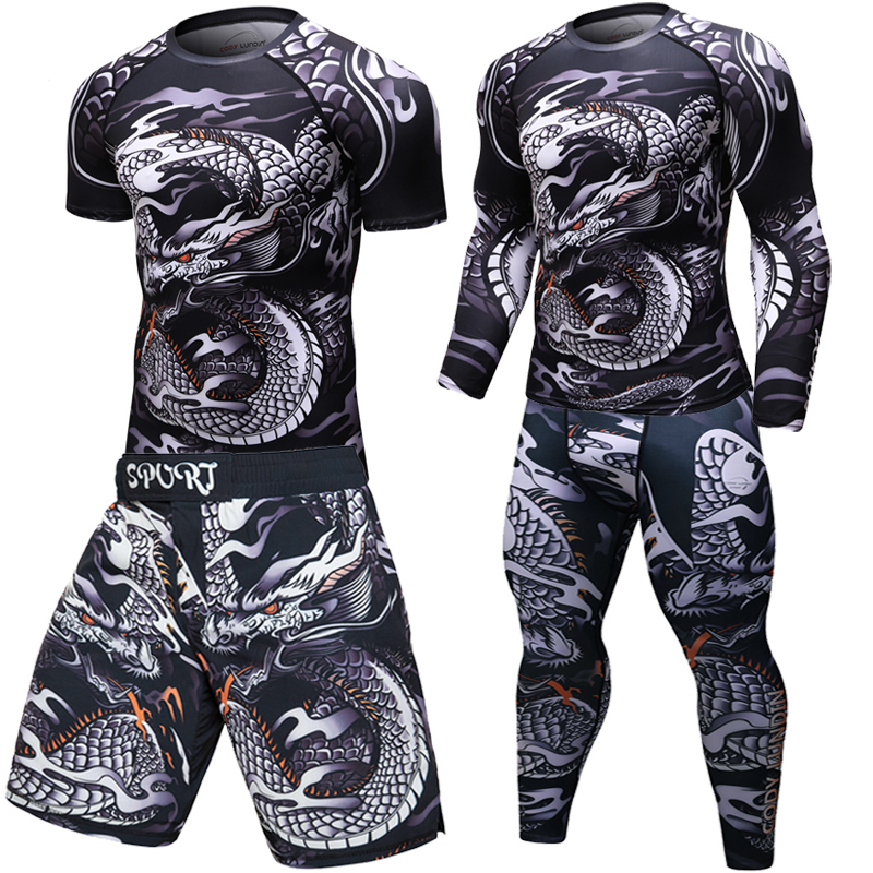 Brand New UFC MMA WorkOut Compress Men T-shirt Long Sleeves BJJ 3D Fitness Tights Men Rashguard Tshirt + Trousers Men's Clothing