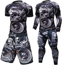 Flambant neuf MMA entraînement compresser hommes t shirt manches longues BJJ 3D fitness collants hommes Rashguard t shirt + pantalon vêtements pour hommes