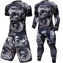 ยี่ห้อใหม่MMAออกกำลังกายการบีบอัดเสื้อยืดผู้ชายแขนยาวBJJ 3DฟิตเนสTightsผู้ชายRashguard Tshirt + กางเกงผู้ชายเสื้อผ้า
