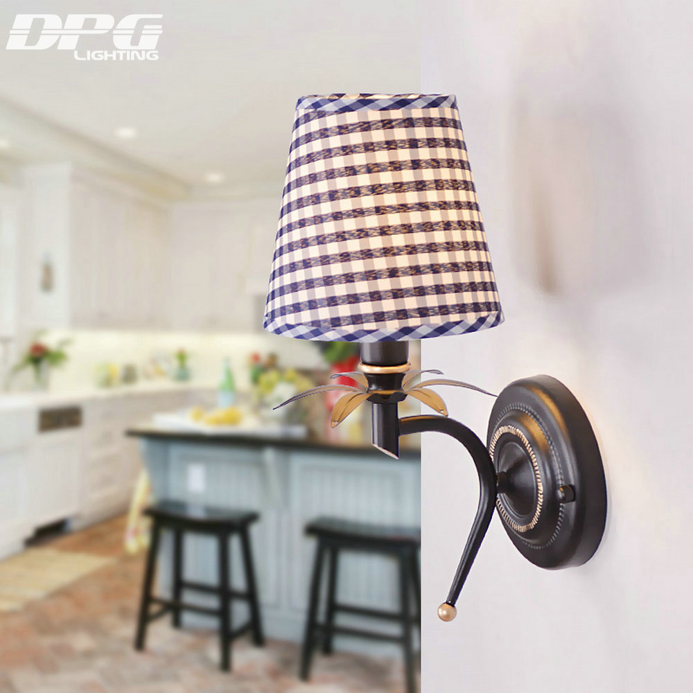 Led Modern Classic Blue Shade Iron Wall Light Indoor Lighting Wall Sconces  For Bedroom Living Room