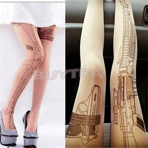 Tattoo Pantyhose - Machine Gun 2