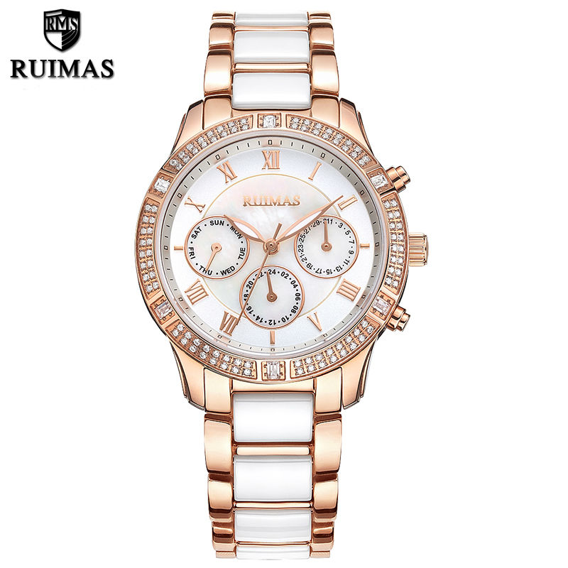 RUIMAS Luxury Women Watches Top Brand Fashion Ceramic Ladies Quartz Watch for Girl Clock Women Relogio Feminino Horloges Vrouwen classic simple star women watch men top famous luxury brand quartz watch leather student watches for loves relogio feminino