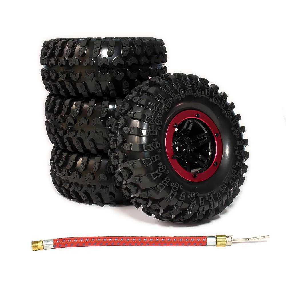 LeadingStar 4pcs 2.2 Inch Inflatable Beadlock Tire Air Pneumatic Wheel For 1/10 RC Crawler Truck Car zk30 2pcs 2 2 metal wheel hubs for 1 10 scale rc crawler car nv widen version outer beadlock wheels diameter 64 5mm width 43 5mm