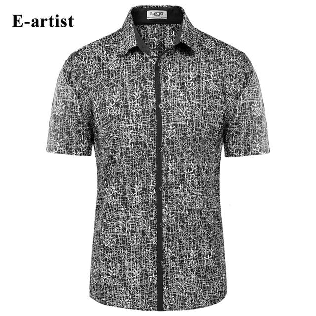 869c1cf6d959b E-artist Men s Slim Fit Casual Short Sleeve Dress Shirts Male Bamboo  Pattern Double Mercerized