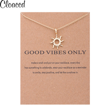 Cloaccd Simple Fashion Women Gold Color Good Vibes Only Sun Chain Pendant Necklace Birthday Gifts With Card