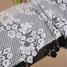 White Hollow Water Soluble Embroidery Lace Cotton Fabric DIY Women's Clothing Cloth Skirt Home Tablecloth Curtain Edge Decor 7cm wide hollow delicate flower lace handmade diy embroidery clothing accessories skirt water soluble edge sewing curtain decor