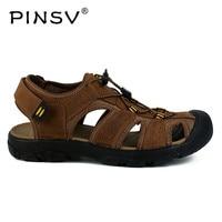 PINSV Genuine Leather Sandals Men Summer Shoes Men Sandals High Quality Beach Sandals Men Zapatos Hombre