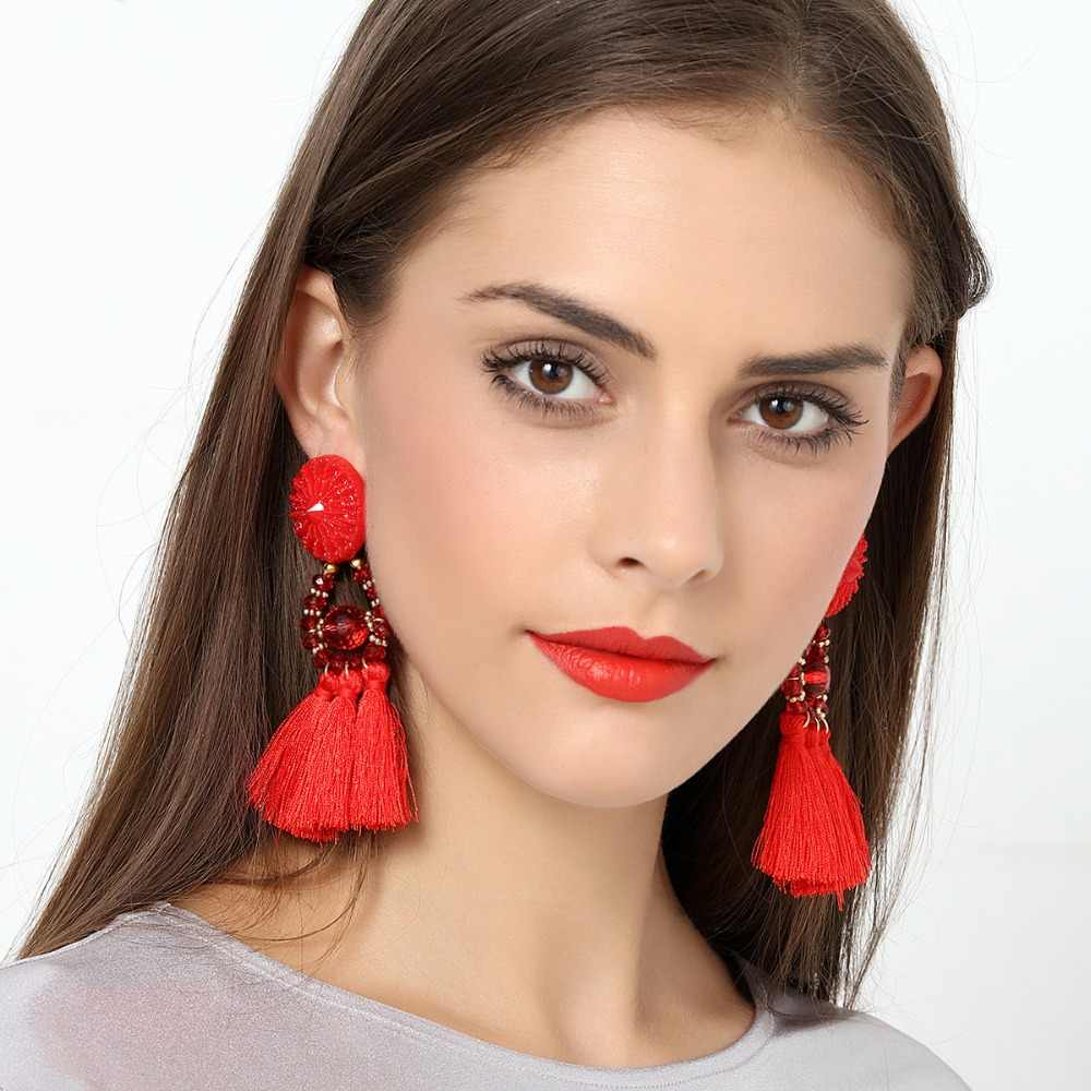 Bohemian Long Statement Tassel Drop Earrings Luxury Resin Beads Tassel Earrings For Women 10 Color Choice Dangle Earrings