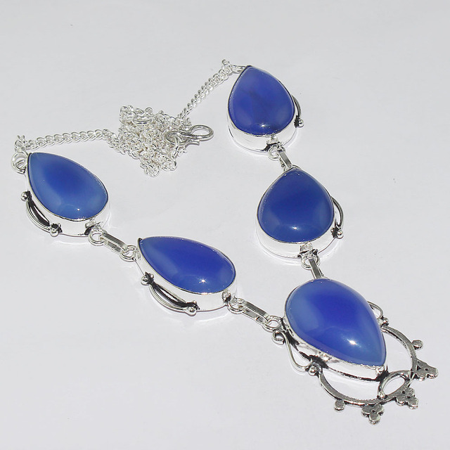 Blue Chalcedony   Necklace  Silver Overlay over Copper ,46.8cm, N1270