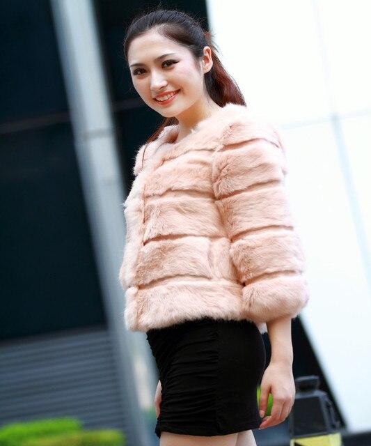 4db2bee2 Factory wholesale Fashion New O-neck Rabbit fur Coat ,Elegant Ladies' Rabbit  fur
