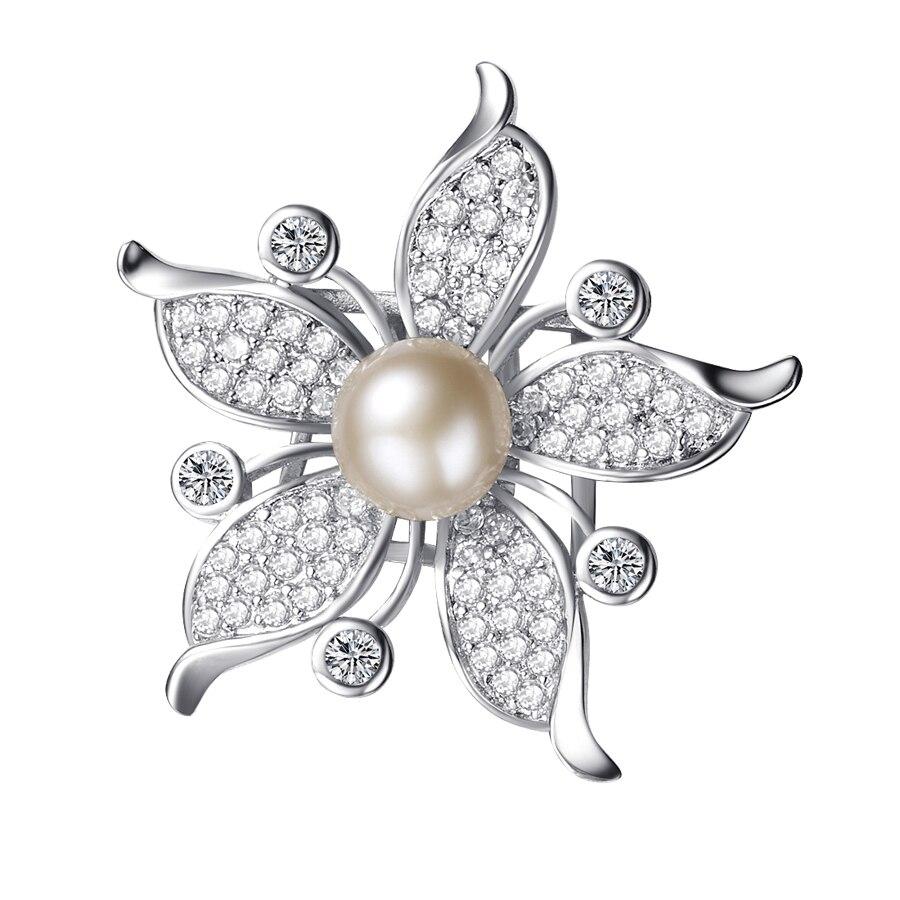 New arrival flower zircon brooch jewelry/ fresh water pearl brooch/ fashion brooch/ new design