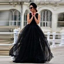Tulle de la falda de la manera faldas largas mujeres faldas Maxi 2018  primavera 3 capas de malla plisada BridesmaidBall vestido . 9b87e244364d