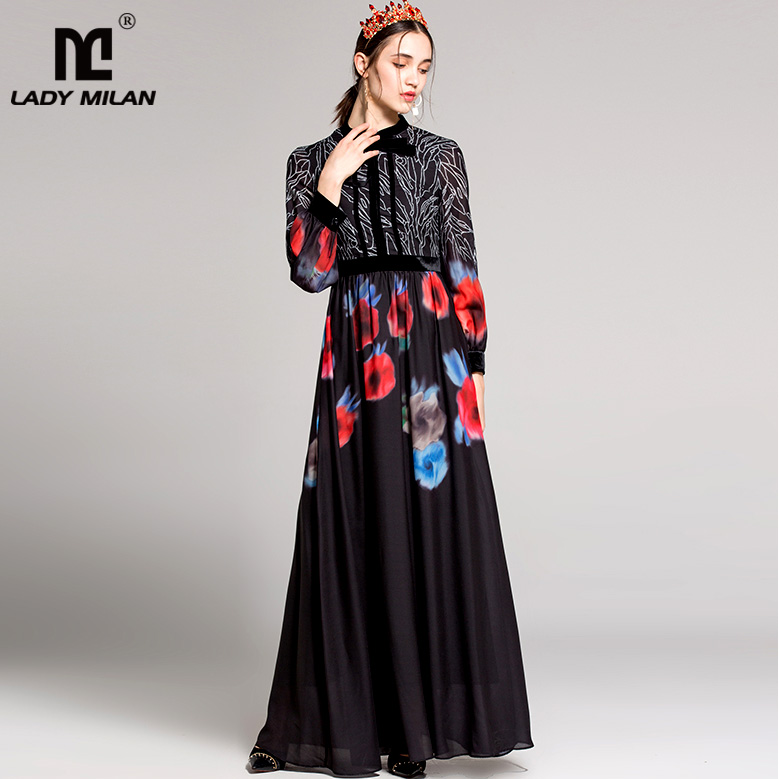 New Arrival 2018 Womens O Neck Long Sleeves Lace Up Printed Floral Maxi Casual Runway Dresses