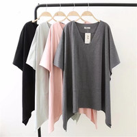 2018 New Summer Spring Women Short Sleeve T Shirt Loose Casual Long Big T Shirt Girl