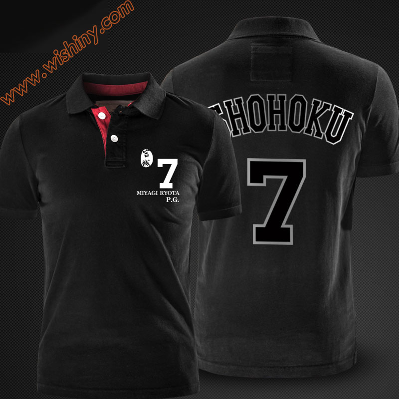 Slam Dunk Miyagi Ryota   Polo   Shirts Men Short Sleeve Tops Summer Black Red Grey Shohoku   Polos