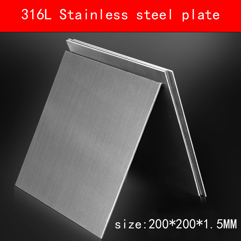 316L Stainless Steel plate size 1.5*200*200mm metal Sheet Brushed surface цена