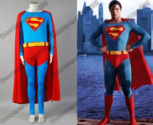 Супермен, супергерой Кристофер Рив косплей костюм для мужчин комбинезон красный плащ изготовленный на заказ костюм для Хэллоуина