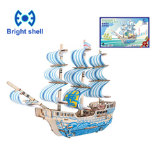 все цены на Creative DIY Laser Cutting 3D sailboat Wooden Puzzle Learning Educational Toy Game Assembly Toys for Children Jigsaw Kids Toys онлайн