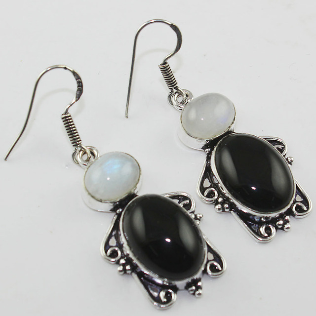 Black Onyx Rainbow Moonstone Earrings Silver Overlay Over Copper 53 Mm
