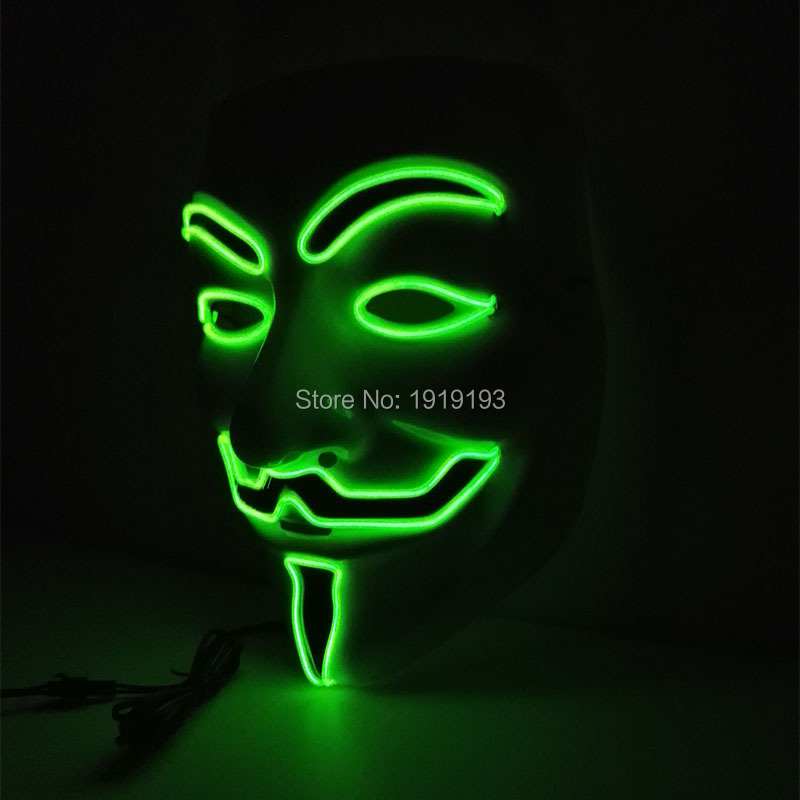 2017 New arrival EL lighting V or Vendetta Mask LED Neon Mask for Halloween and Christmas Party Decorative holiday lighting