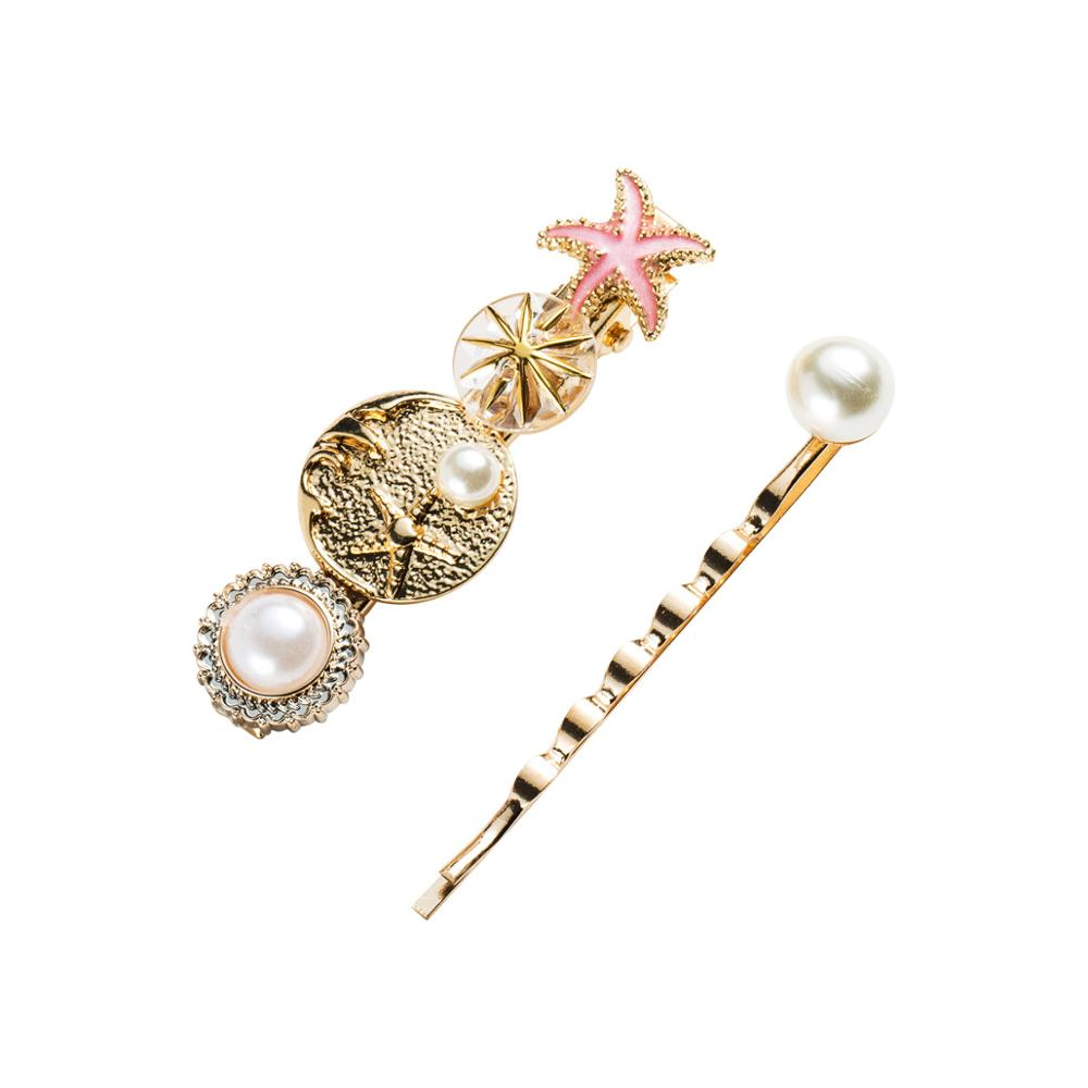 2pcs/Set Barrettes Jewelry Starfish Slide-Hair Pearl Women Hairpins for Simulated Hairpins-set/Starfish/Barrettes