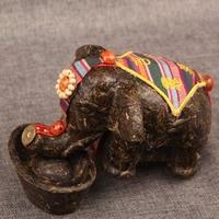 Chinese Yunnan Puerh Tea Craft Lucky Auspicious Elephant Animal Pu 'er Tea Carving Sculpture Decoration Home Decor Creative Gift