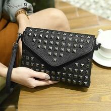 ShowMi High Quality Fashion Ladies Women Mini Leather Messenger Bags Shoulder Crossbody Bag Rivet Envelope font