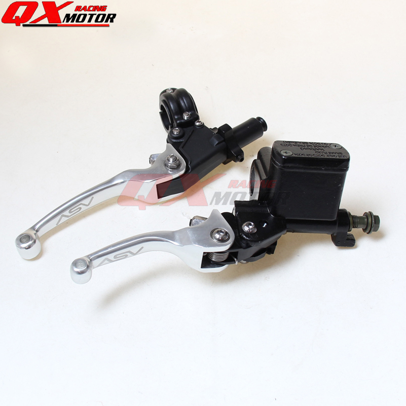 SILVER Brake folding brake lever clutch Lever with front pump Fit ASV Most Motorcycle Dirt Pit Bike Motorcross CRF KLX YZF RMZ asv clutch and brake folding aluminum lever for dirt bike pit bike spare parts