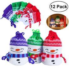 12pcs 3 Colors Christmas Plush Drawstring Candy Bag Gift Pouch Christmas